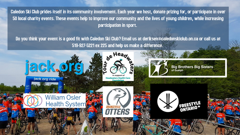 Image of community message from Caledon explaining community involvement. Includes logos of various charities, and a group bike ride leaving the lodge.
